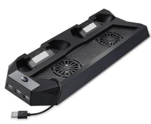 【中古】PS4ハード PS4 スリム型用 多機能縦置きスタンド コントローラー2台充電 USBハブ3ポート (ブラック)
