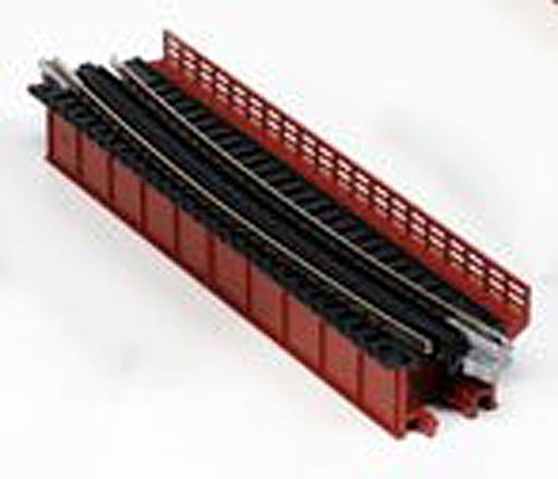 【新品】Nゲージ(レール) 1/150 単線デッキガーダー 曲線鉄橋R448-15°(朱) 「ユニトラック」 [20-465]
