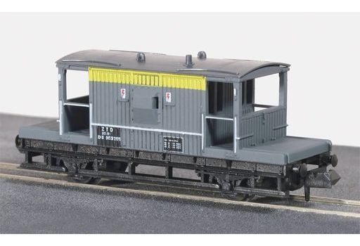 PECO(ピィコ) 新品 鉄道模型 1/150 イギリス2軸貨車 車掌車 緩急車(グレイ×イエロー) [PENR-28C]