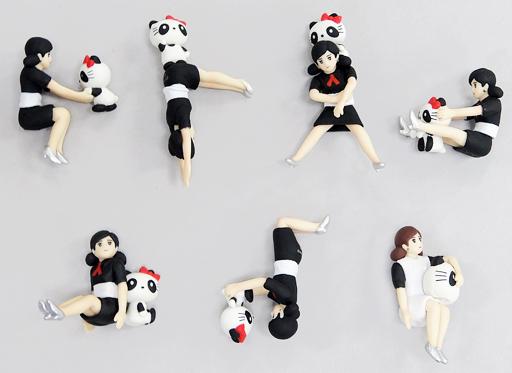 【中古】トレーディングフィギュア 全7種セット 「コップのフチ子とGOTOCHI KITTY」 東京限定パンダ