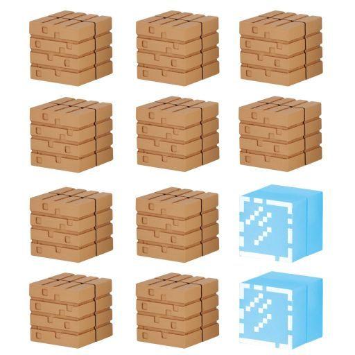 【中古】トレーディングフィギュア ブロックセット オークの木材とガラスブロック 「マインクラフトケシゴム-マイケシ-」