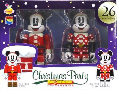【中古】フィギュア BE@RBRIC-ベアブリック- 26.ミッキーマウス サンタVer.&ミニーマウス サンタVer. 「Happyくじ ディズニー Christmas Party BE@RBRIC」 ペアボックス賞