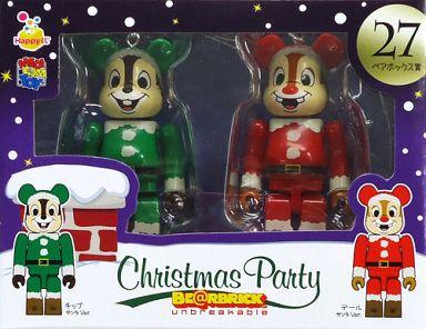 【中古】フィギュア BE@RBRIC-ベアブリック- 27.チップ サンタVer.&デール サンタVer. 「Happyくじ ディズニー Christmas Party BE@RBRIC」 ペアボックス賞