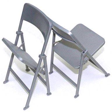 【中古】フィギュア 折りたたみ椅子2個セット(シルバー) 1/6 アクセサリー
