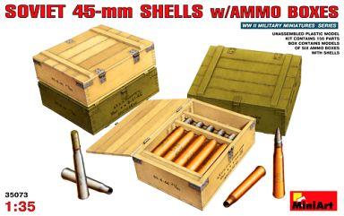 【新品】プラモデル 1/35 ソビエト45mm砲弾&弾薬箱セット 「WWII ミリタリーミニチュアシリーズ」 [35073]