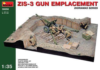 【新品】プラモデル 模型 1/35 ジオラマベース58 ZIS-3 火砲陣地 (ZIS-3、弾薬箱、砲兵付き) [MA36058]