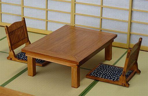 【中古】プラモデル 模型 1/12 檜の食卓と座椅子のセット [WZ-008]