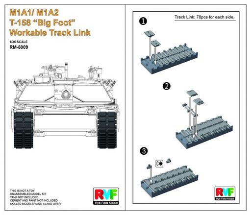 【中古】プラモデル 1/35 M1A1/A2用 T-158 ビッグフット 可動式履帯セット ディティールアップパーツ [RFM5009]