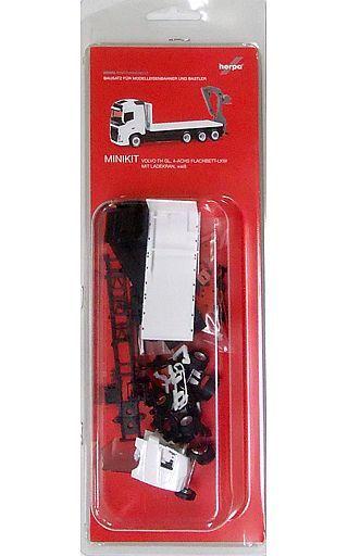 【新品】プラモデル 1/87 ミニキット ボルボ FH GI. 4-axle フラットトラック ローディングクレーン(ホワイト) [HE013154]