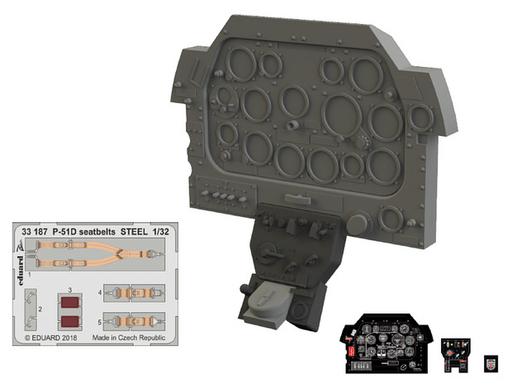 【新品】プラモデル 1/32 P-51D 計器盤 レベル用 「Lookシリーズ」 ディティールアップパーツ [EDU634001]