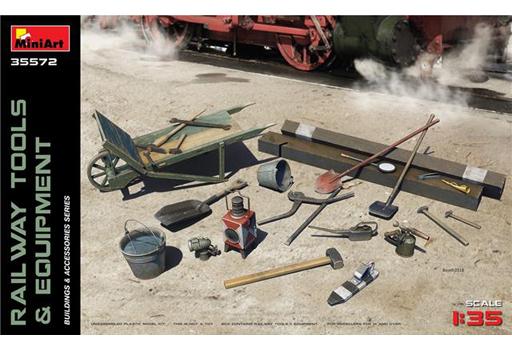【新品】プラモデル 1/35 鉄道敷設用工具と装備品 枕木・スコップ・レンチ等 ディティールアップパーツ [MA35572]