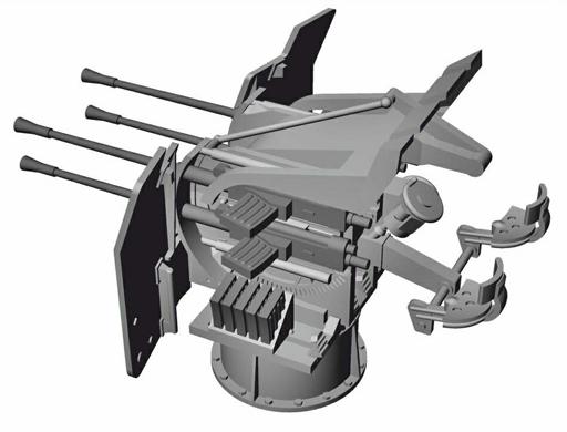 【予約】プラモデル 1/72 独Uボート タイプIX 4連装対空機関砲改造セット レベル用 ディティールアップパーツ [CMKN72023]
