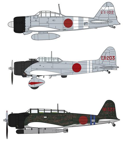 ハセガワ 1/48 零戦21型&九九艦爆11型&九七式三号艦攻...
