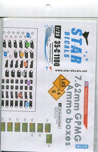 【新品】塗料・工具 1/35 現用英 7.62mmGPMG機銃 弾薬箱ステンシル デカール [CD35-C1100]