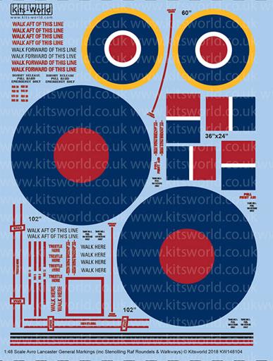 【新品】塗料・工具 1/48 WW.II イギリス空軍 アブロ ランカスター ステンシルマーキングデカール [KW148104]