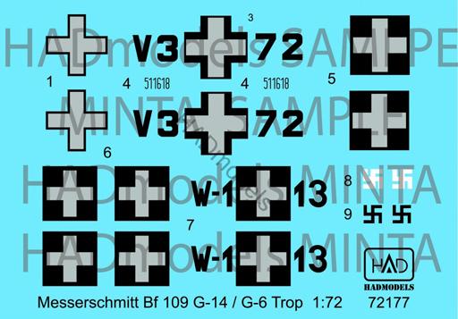 【予約】塗料・工具 1/72 Bf109G-14&G-6/Trop ハンガリー空軍 デカール(2種ハンガリー空軍/国籍マーク2機分) [HAD72177]