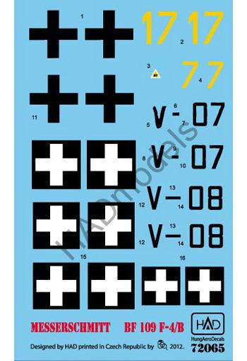 【予約】塗料・工具 1/72 Bf109F-4/b ハンガリー空軍 デカール(4種ハンガリー空軍デカール/国籍マーク 2機分) [HAD72065]