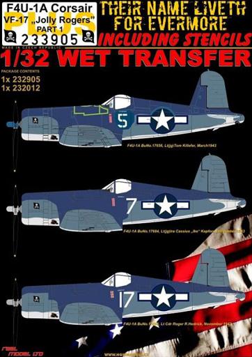 HGW 新品 塗料・工具 1/32 F4U-1A デカール VF-17 ジョリー ロジャーズ パート1 スーパーセット [HGW233905]