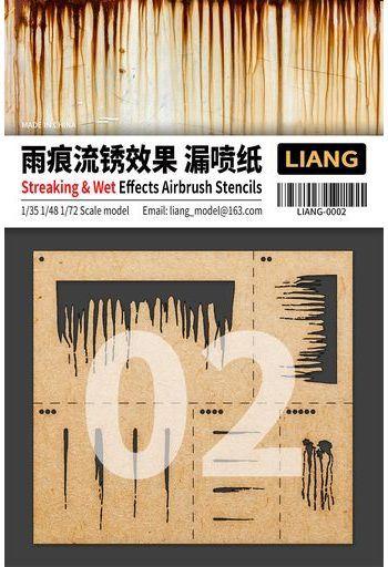 LIANG(リアンモデル) 新品 塗料・工具 1/35・1/48・1/72 エアブラシ用サビ垂れ/雨垂れステンシル [LIANG-0002]