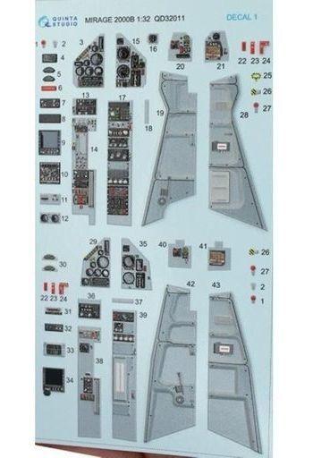 Quinta Studio(クインタスタジオ) 新品 塗料・工具 1/32 ミラージュ2000B 内装3Dデカール キティホーク用 [QNTD32011]