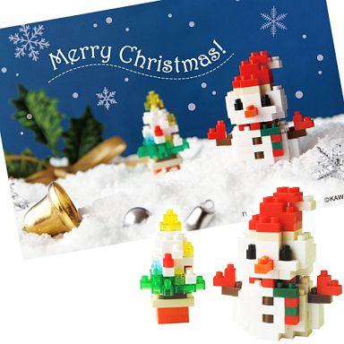 【中古】おもちゃ ナノブロッククリスマスカード NP063 雪だるまB