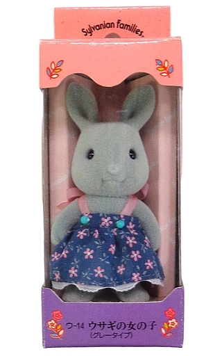 【中古】おもちゃ ウサギの女の子(グレータイプ) 花柄紺色ワンピース「シルバニアファミリー」