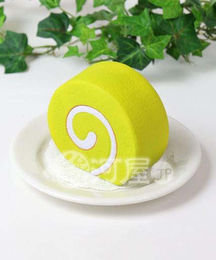 【新品】スクイーズ(食品系/おもちゃ) 野いちご 柔らかロールケーキ 緑 マザーガーデン