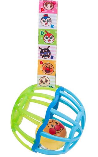 【予約】知育・幼児玩具 ストラップ付きしゃかしゃかボール グリーン 「 それいけ!アンパンマン」