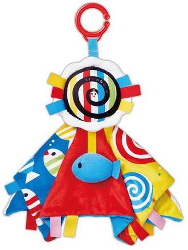 ジョイパレット 新品 おもちゃ タグいっぱい!ふわふわベビーブランケット 「しましまぐるぐる」