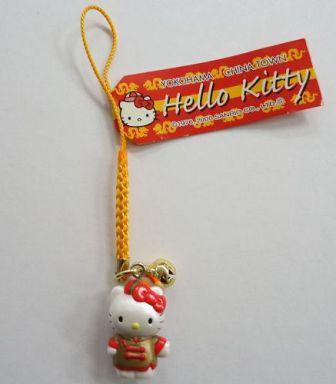 【中古】キーホルダー・マスコット(キャラクター) キティ 横浜中華街 根付け(オレンジ) 「ハローキティ」