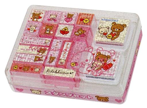 【新品】小物(キャラクター) 集合(ホワイト&ピンク) スタンプセット Mサイズ 「リラックマ」