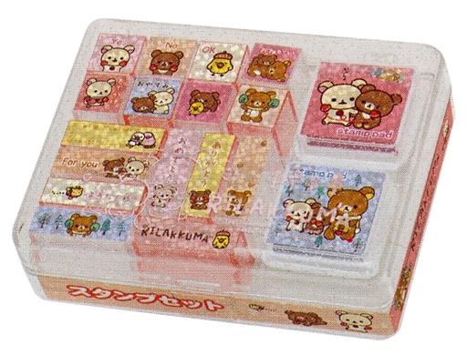 【新品】小物(キャラクター) 集合(クリア&ピンク) スタンプセット Mサイズ 「リラックマ」