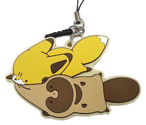 【中古】ストラップ(キャラクター) タヌキ&キツネ(にげる) 「タヌキとキツネ トレーディングなかよしラバーストラップ」
