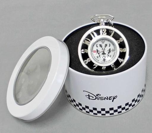 【中古】腕時計・懐中時計(キャラクター) シルバー ミッキーマウス プレミアムホワイトフレームレリーフ懐中時計 「ディズニー」