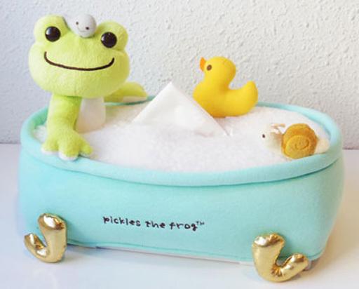【予約】生活雑貨(キャラクター) ピクルス ティッシュカバー バスタイムシリーズ 「pickles the frog-かえるのピクルス-」