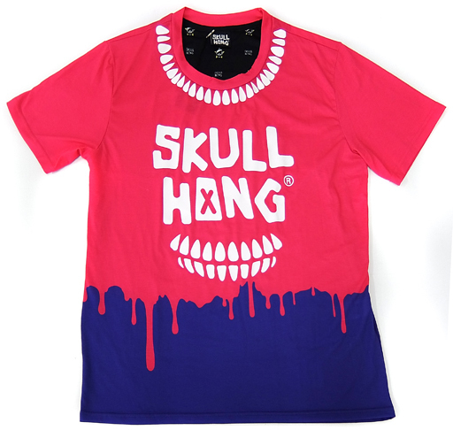 【中古】Tシャツ(男性アイドル) イ・ホンギ(FTISLAND) SKULL HONG Tシャツ ピンク×パープル フリーサイズ
