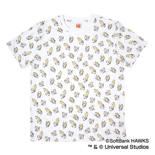 【中古】Tシャツ(キャラクター) 総柄 Tシャツ ホワイト Lサイズ 「福岡ソフトバンクホークス×ミニオンズ」