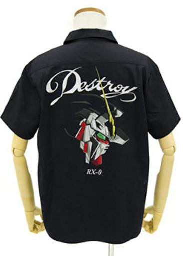 コスパ 新品 ポロシャツ・ワークシャツ(キャラクター) ユニコーンガンダム 刺繍ワークシャツ ブラック Lサイズ 「機動戦士ガンダムUC」