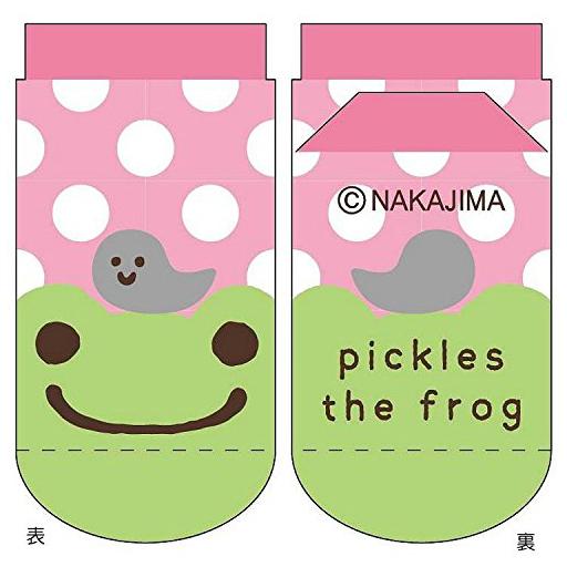 【新品】衣類その他(キャラクター) ドットピンク キッズソックス 13?18cm 「pickles the frog-かえるのピクルス-」
