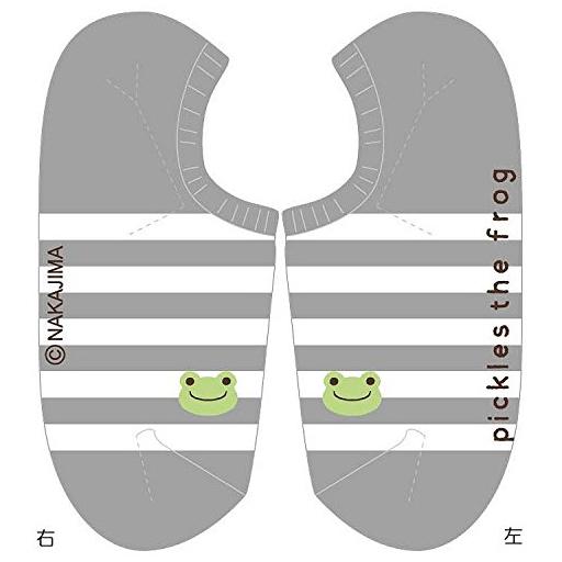 【新品】衣類その他(キャラクター) ボーダーグレー スニーカー用ソックス 22?24cm 「pickles the frog-かえるのピクルス-」