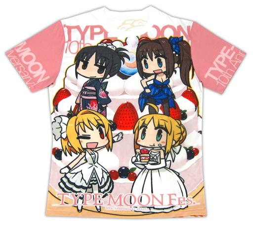 【中古】Tシャツ(キャラクター) 集合 キャラクターTシャツ ホワイト×ピンク Mサイズ 「TYPE-MOON Fes.」