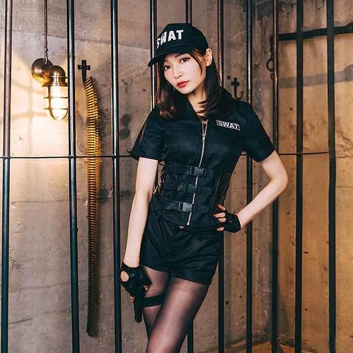 BODYLINE 新品 コスプレ衣装・グッズ(キャラクター) SWATレディ コスプレ ブラック XLサイズ