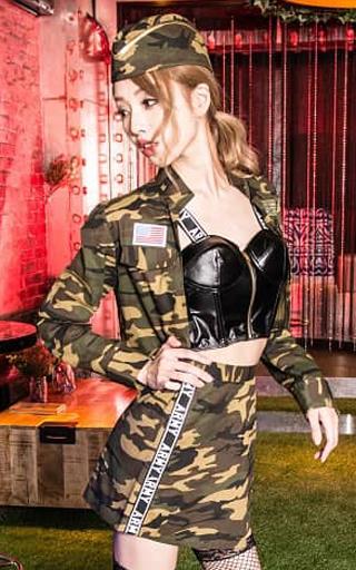 BODYLINE 新品 コスプレ衣装・グッズ(キャラクター) K-army コスプレ ブラック×グリーン(迷彩柄) Mサイズ