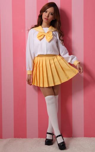BODYLINE 新品 コスプレ衣装・グッズ(キャラクター) costume573 カラフルセーラー長袖 コスプレ イエロー 2Lサイズ