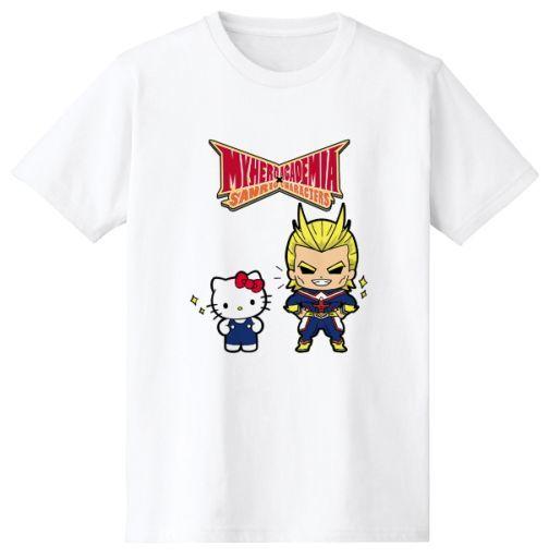 オールマイト&ハローキティ Tシャツ ホワイト レディースLサイズ 「僕のヒーローアカデミア×サンリオキャラクターズ」