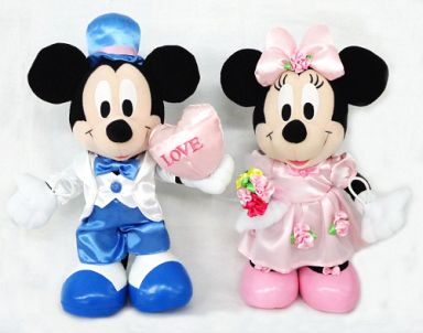 【中古】ぬいぐるみ ミッキー(LOVE)&ミニー(バラ) NTTぬいぐるみ電報 「ディズニー」