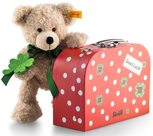 【新品】ぬいぐるみ Fynn Teddy bear in suitcase clover-フィン テディベア イン スーツケース クローバー- 24cm