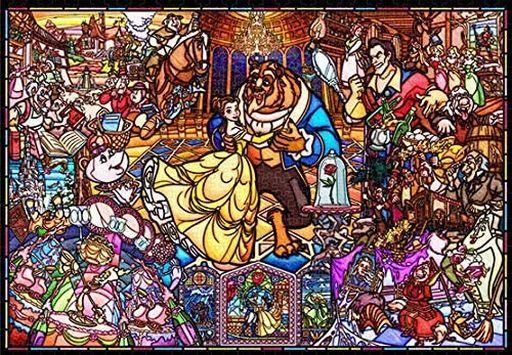 テンヨー 新品 パズル 美女と野獣 ストーリー ステンドグラス 「美女と野獣」 ピュアホワイト ステンドアート ジグソーパズル 1000ピース [DP1000-035]
