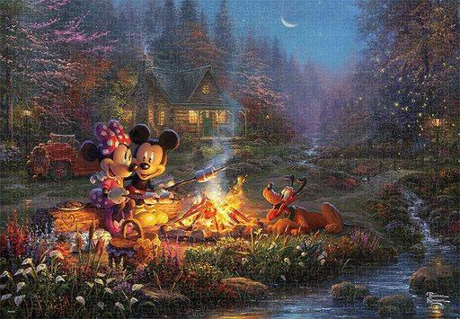 テンヨー 新品 パズル Mickey and Minnie Sweetheart Campfire 「ディズニー」 スペシャルアートコレクション ジグソーパズル 1000ピース [D1000-079]