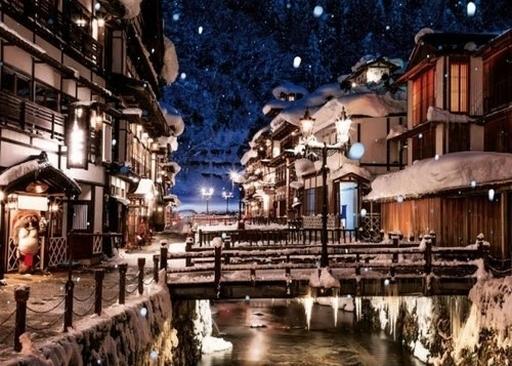 やのまん 予約 パズル 雪化粧の銀山温泉(山形) 「日本の風景」 ジグソーパズル 500ピース [05-1054]